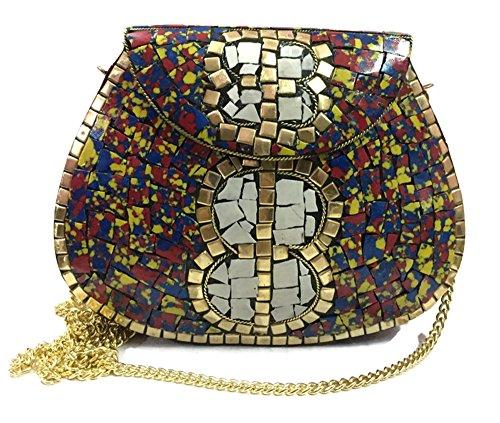 de bolso vendimia embrague de bolso la embrague Tiles2 del de metal mosaico del la étnico de Trend embrague bolsos bolso honda bolso mujeres las Txpw5q