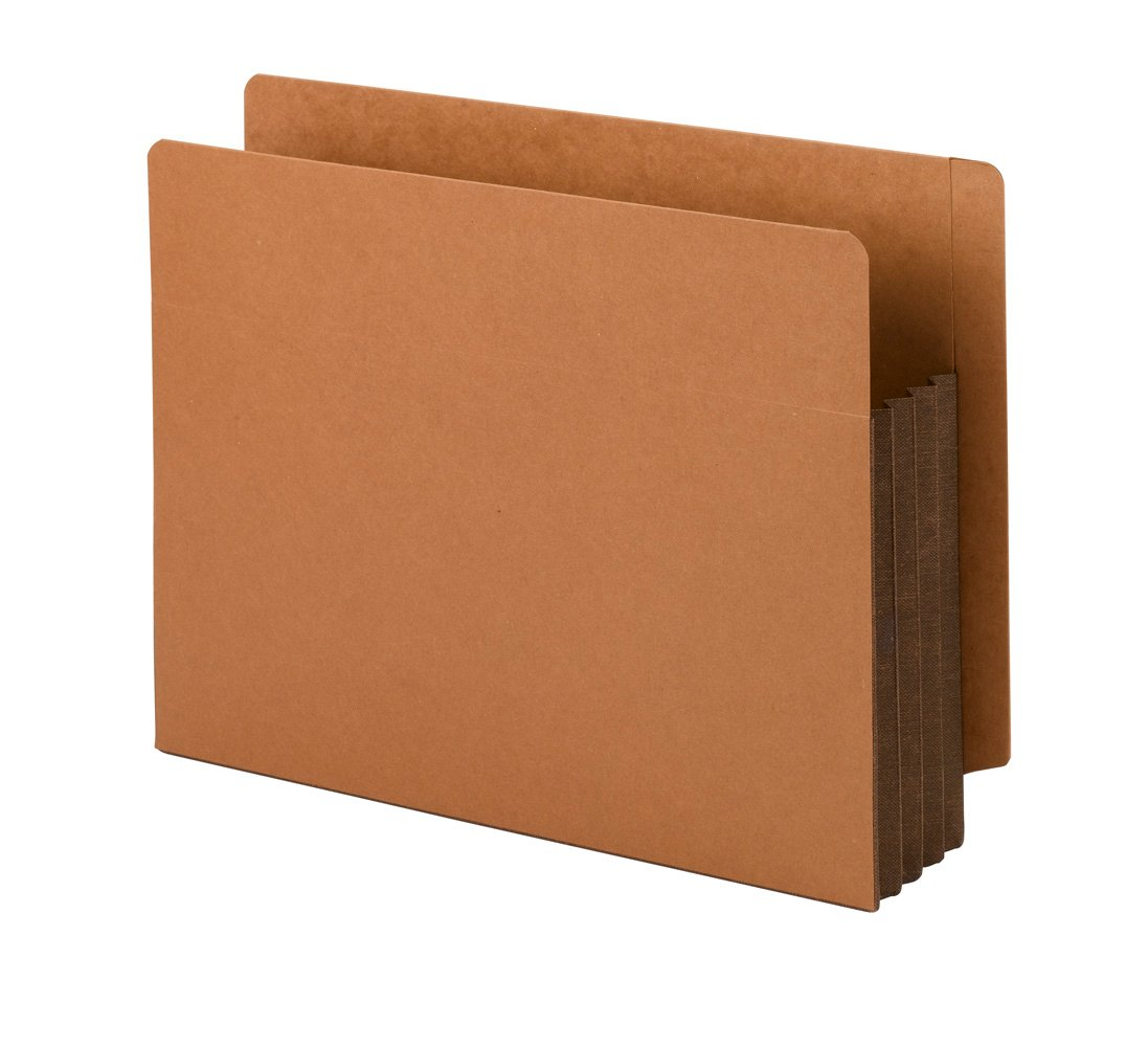 Smead End Tab File Pockets, Dark Brown Tyvek Gusset, 3-1/2-Inches Expansion, Redrope, 10 Per Box (73681)