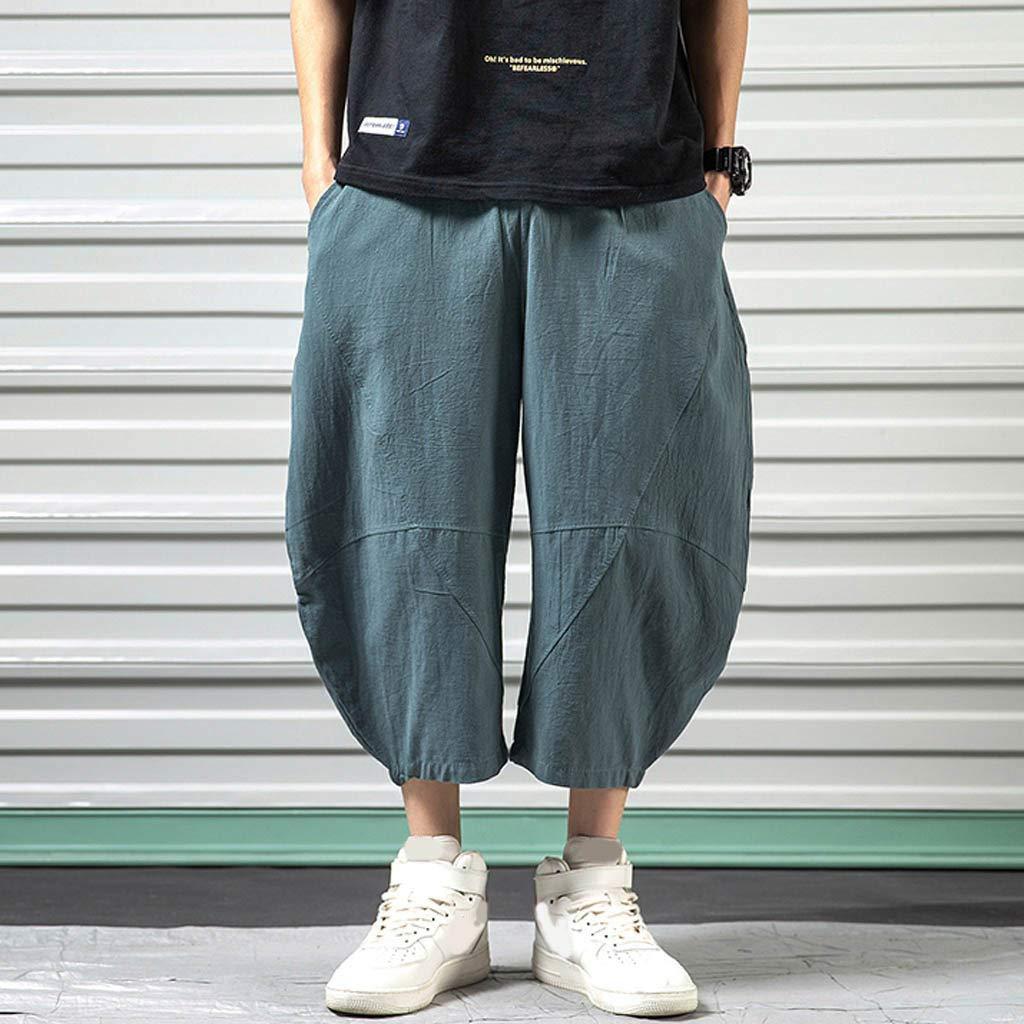 Wide Leg Pants for Men,Sunyastor Men's Baggy Casual Trousers Cotton Linen Loose Harlan Pants Elastic Waist Pants Pockets Blue by Sunyastor men pants (Image #3)