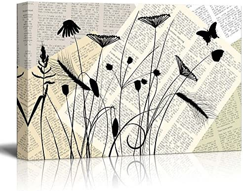 Amazon Com Wall26 Canvas Wll Art Poppy And Wheat With Butterflies On Vintage Newspaper Background Giclee Print And Stretched Ready To Hang 16 X24 Home Kitchen