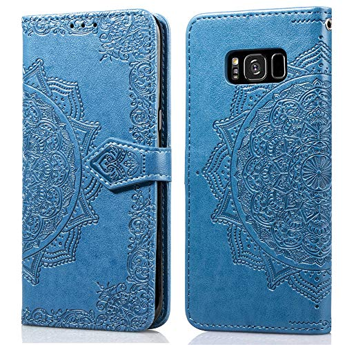 (Cmeka Mandala Wallet Kickstand Case for Samsung Galaxy S8 Slim 3D Relief Flower Flip Magnetic Kickstand Leather with Card Solts Holder Phone Cover (Sky Blue))