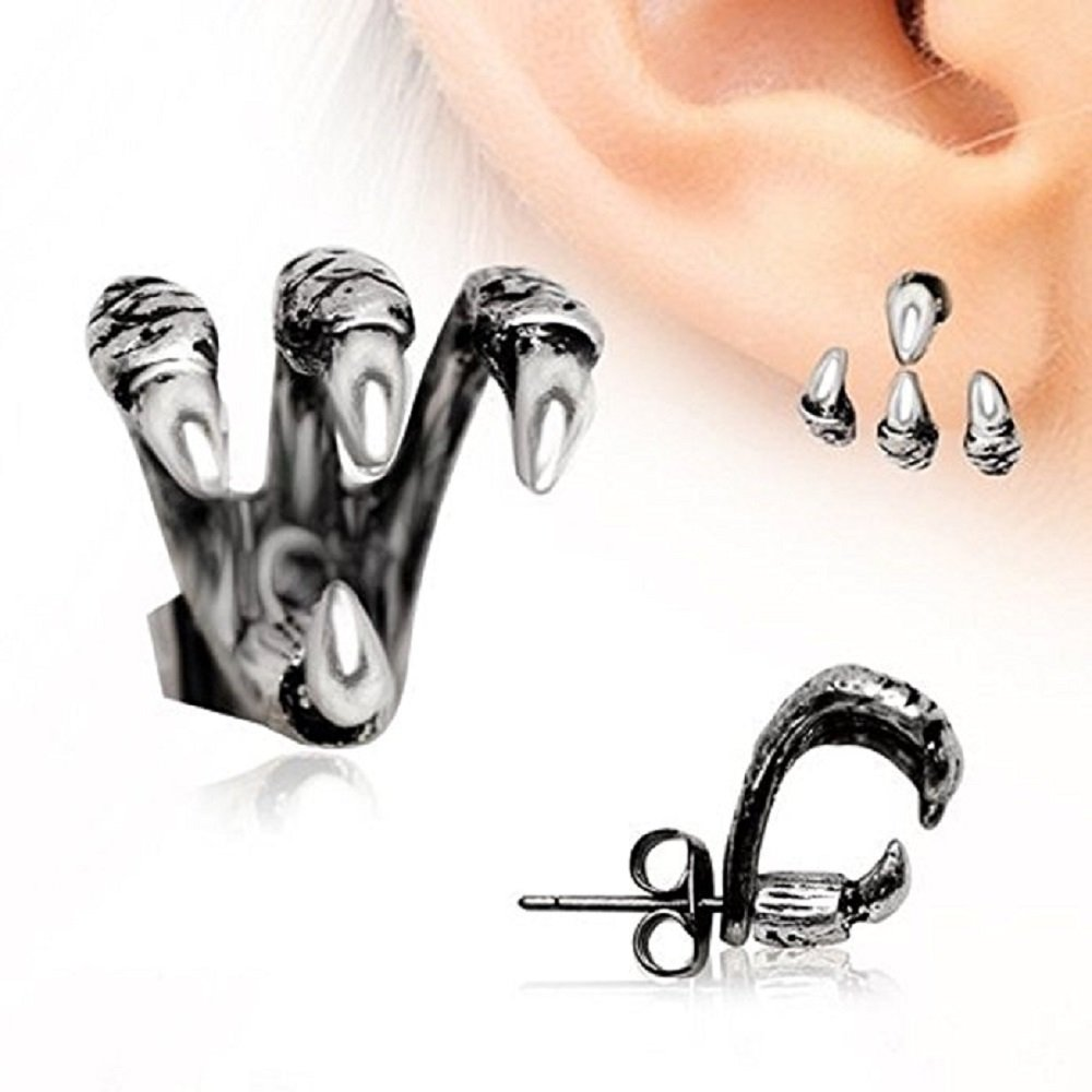 ''Trident Triple'' Claw Earring 316L Stainless Steel (Sold Individually)