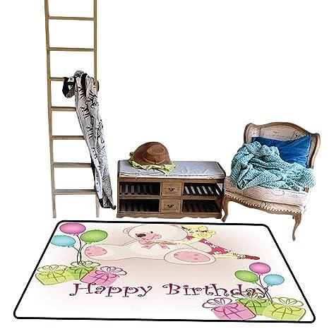 Amazon.com: Decorative Floor mat, Baby Birthday with ... on