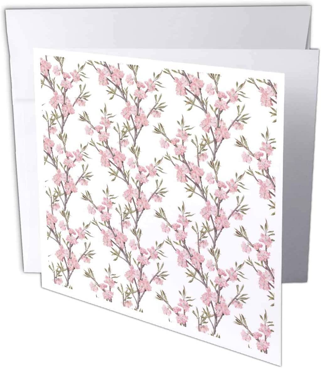 3dRose Anne Marie Baugh - Patterns - Pretty Pink Apple Blossoms Pattern - 12 Greeting Cards with envelopes (gc_317615_2)