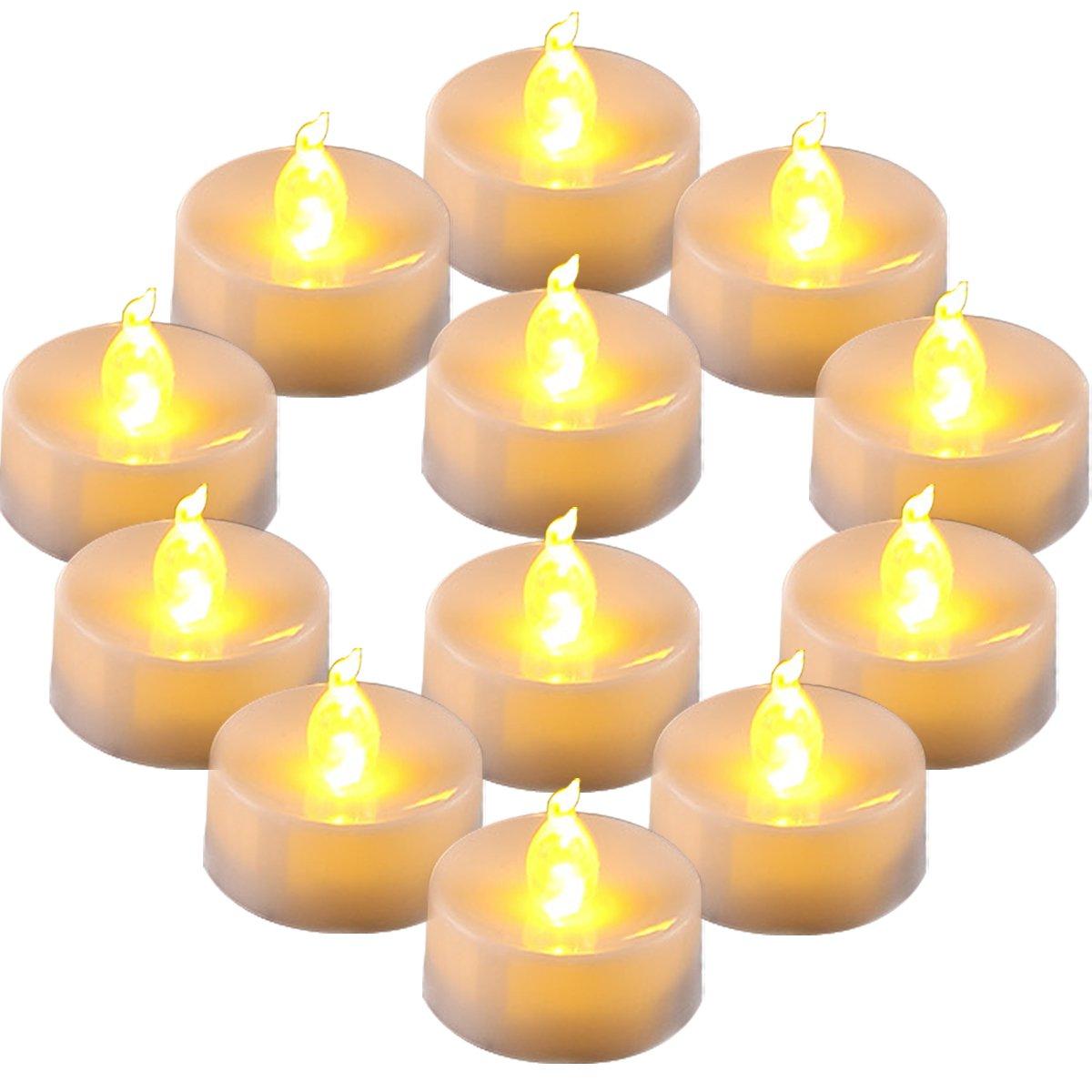 Homemory 12pcs batteria Tremolante candela elettronica tealight portò candele, duratura, batteria, compleanno, cero, matrimoni - giallo ambrato Xiamen Global Selection HMCLTLA