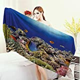 3D Printed Microfiber Beach Towel Ocean Decor Collection Wild Sea Life Colorful Ancient Coral Reefs and Exotic Fishes Bali Indonesia Picture Thick Towels 63''x31.5'' Navy Blue Orange Olive Ivory