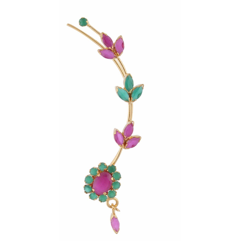 Efulgenz Ear cuffs Cubic Zirconia Halo Flower Leaf Climber Crawler Cartilage Clip on Faux Ruby Emerald Cuff Wrap Earrings by Efulgenz (Image #3)