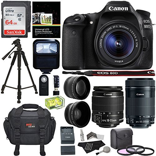 Canon EOS 80D Digital SLR Kit with EF-S 18-55mm f/3.5-5.6 Image Stabilization STM & Canon EF-S 55-250mm Lens + Polaroid .43x Super Wide Angle & 2.2X HD Telephoto Lens + Memory Cards + Accessory Bundle [並行輸入品]   B07F43JHLC