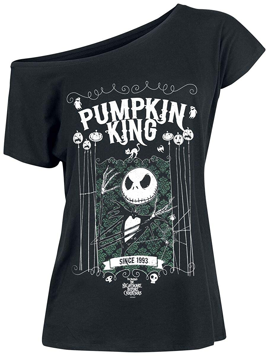 TALLA L. Pesadilla Antes De Navidad Jack Skellington - Pumpkin King Camiseta Negro