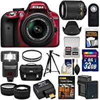 Nikon D3300 Digital SLR Camera & 18-55mm (Red) & 55-200mm VR II Lens + WU-1a Wi-Fi Adapter + 32GB + Case + Battery + Tripod + Flash + 2 Lens Kit Advantages Review Image