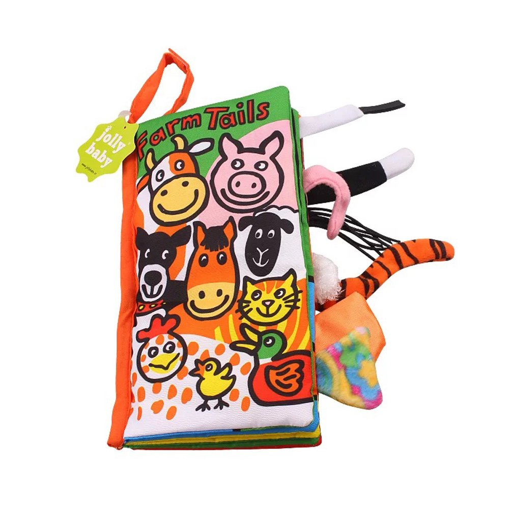 LOHOME Soft Cloth Books - Non-toxic Fabric Baby Early Education Toys Activity Crinkle Animals Cloth Book for Toddler, Infants and Kids - Perfect for Baby Shower (Farm Tails)