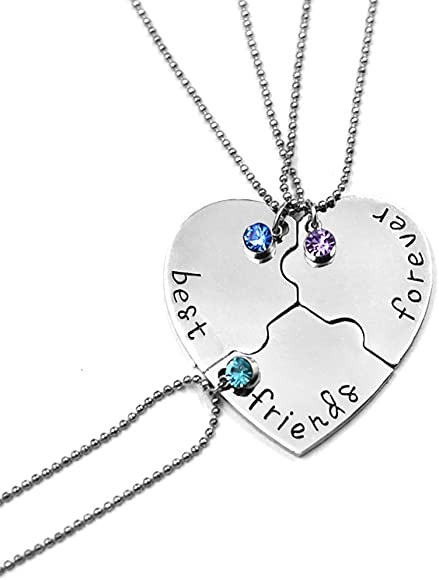 3e329ce58d6c1 Best Friend Forever and Ever Rhinestone BFF Necklace Heart Shape Pendant  Friendship Puzzle Stitching Necklace