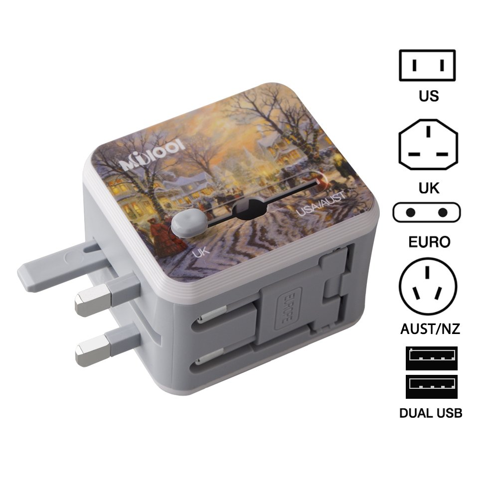 Universal All in One Worldwide Travel Adapter with Dual USB Ports for UK, EU, AUS, US 150+ International Countries for Phones, iPhone, iPAD, Power Bank, MP3/4/5, Cameras (Christmas)