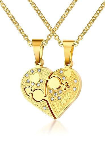 65874c46f0 Joielavie 2pcs Couple Stainless Steel Love Puzzle Heart Male Female Symbol  Zircon Rhinestone Gold Chain Pendant Necklace Fashion Jewellery Rhinestone  ...