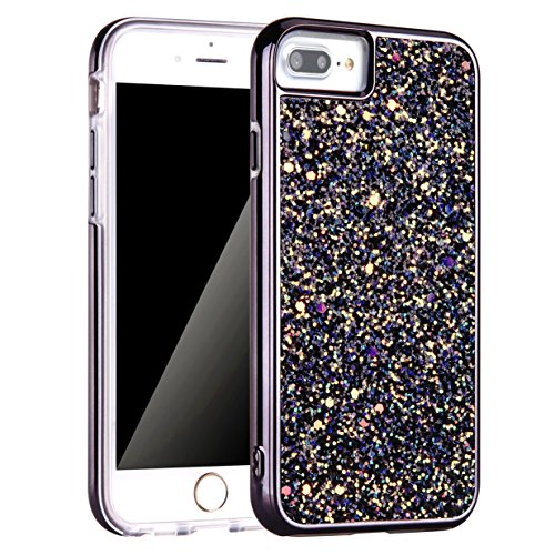 iPhone 7 Plus Case, iPhone 8 Plus Case, Screen Protector, Bling Glitter Dual Layer Shockproof Hard PC Back Soft TPU Inner Protective Cover with Lanyard Strap for Apple iPhone 7/8 Plus 5.5 Inch (Black)