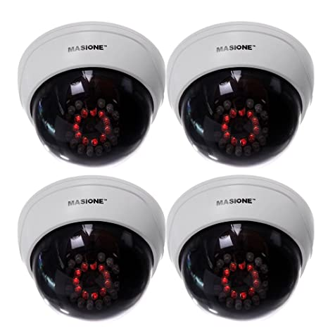 Amazon masione 4 pack indoor cctv fake dummy dome security masione 4 pack indoor cctv fake dummy dome security camera with flashing red ir leds light mozeypictures Choice Image