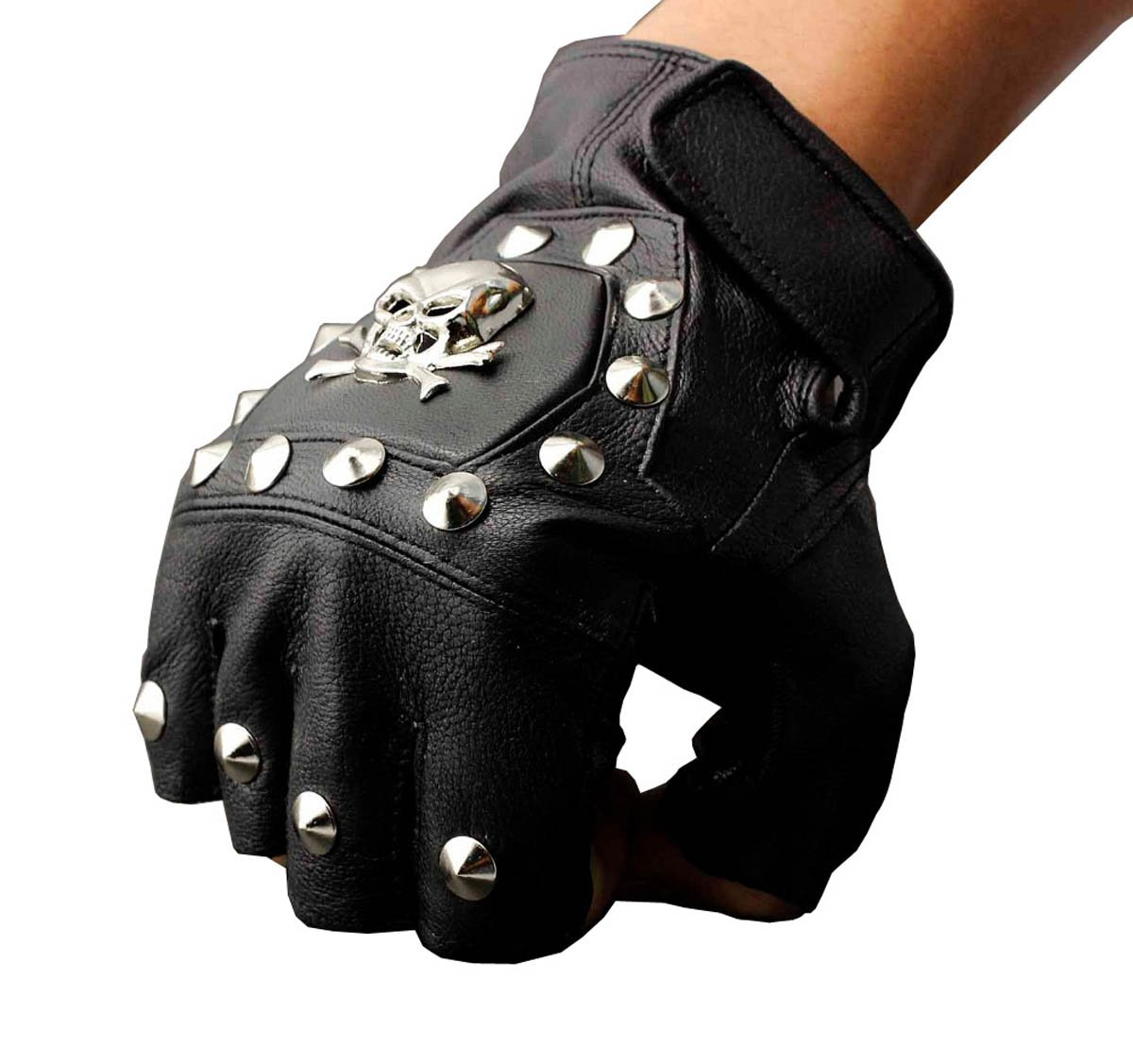 Mens Real Leather Driving Motorcycle Biker Punk Skull Fingerless Gloves Threecattles
