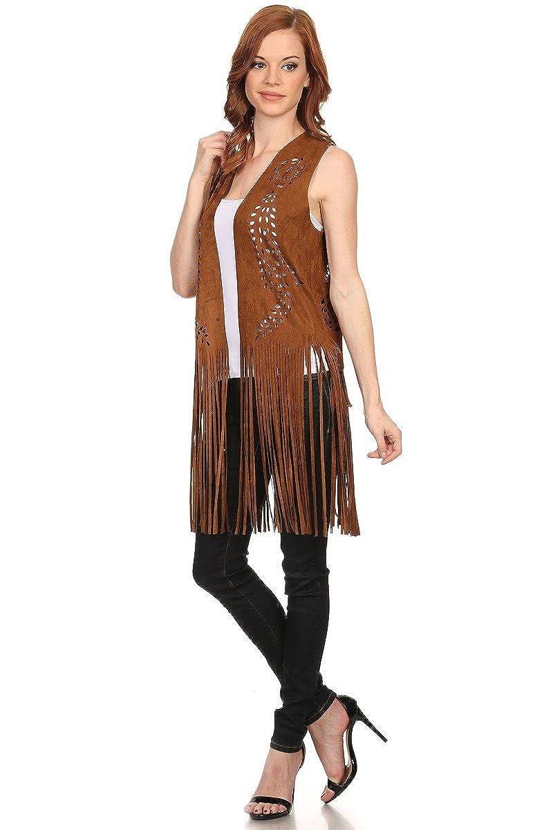 LL Womens Open Front Poncho Vest Boho Wrap Fringe Vegan Faux Suede Many Style