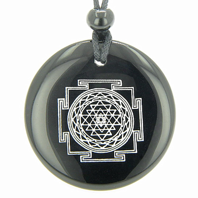 Sri yantra chakra talisman black agate magic pendant necklace sri yantra chakra talisman black agate magic pendant necklace bestamulets amazon jewellery mozeypictures Choice Image