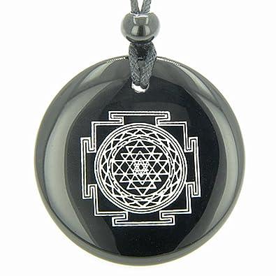 Amazon sri yantra chakra talisman black agate magic pendant sri yantra chakra talisman black agate magic pendant necklace mozeypictures Images