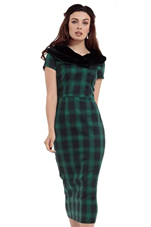 Voodoo Vixen Rachel Vintage Retro 40s 50s Faux Fur Collar Pencil Wiggle Dress - Green &
