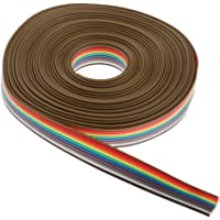perfk IDC platt bandkabel platt kabel, 10 stift, 5 m, IDC, regnbågsfärger