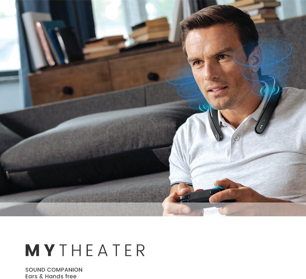 White My Theater Wearable Neckband Bluetooth Speaker Universal EM-W100UWH