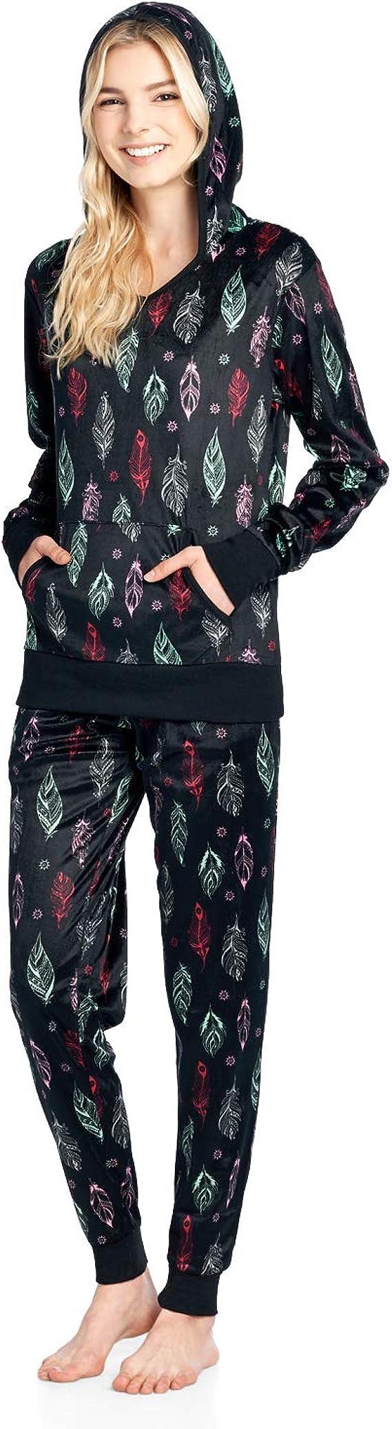 Ladies Heart Micro Fleece With Hood Twosie Pyjama Set