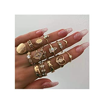 Campsis 16PCS Gold Vintage Women Ring Sets Crystals Knuckle Stacking Multi Size Rings Boho Mid Ring for Women and Girls