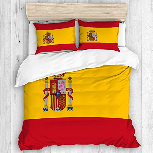 DAHALLAR Bedding Juego de Funda de Edredón,Bandera española roja ...