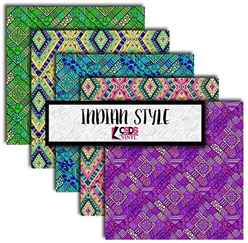 Indian Style Heat Transfer Vinyl Bundle, Indian Patterned Vinyl, Tribal Printed Vinyl, Indian Pattern HTV, Craft Vinyl Multipack (Heat Transfer Vinyl)