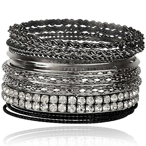 (Lux Accessories Gunmetal Pave Bling Skinny Mesh Multi Bracelet Bangle Bracelet Set Chain)