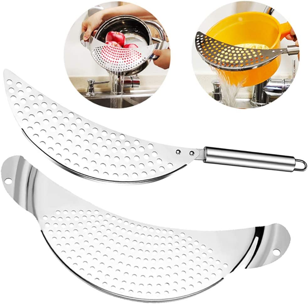 Pasta Strainer Stainless Steel Crescent Pot Pan Strainers Metal Handheld Kitchen Colanders with Recessed Hand Grips Easy Draining Suitable for Pot Sizes Up to 10 Inches 2 Packs