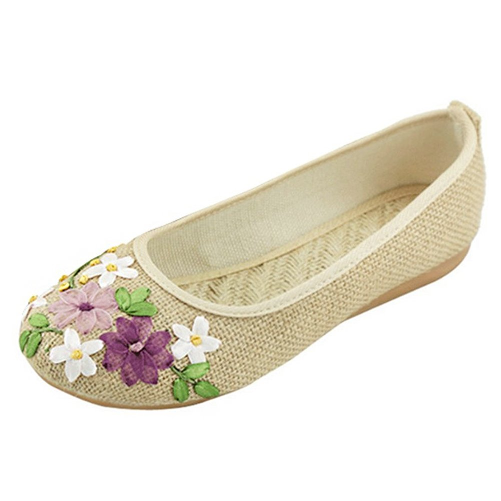 Get Cheap Paris Hill Women Flower Flats Slip on Cotton Fabric Casual Shoes