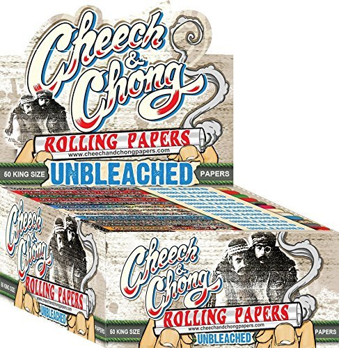 50 Packs Cheech and Chong King Size Unbleached Cigarette Rolling Papers (50 Rolling Papers Per Pack) + Limited Beamer Smoke Sticker. Used with Legal Smoking Herbs, Rolling Tobacco, Herbal Mixes