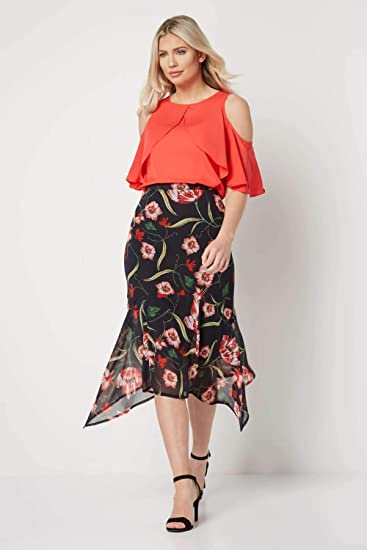 Roman Originals Womens Black Floral Print Chiffon Frill Skirt Ladies Holiday Evening Going Out Smart Cocktails Party Summer Floaty Skirt Clothing