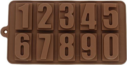 10 Cavidades Chocolate Molde Silicona Bombones Números 1 2 3 4 5 6 ...