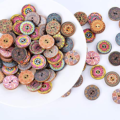 Souarts Pack of 100pcs Mixed Round 2 Holes Wood Buttons Random Shinning for Sewing Crafting ()