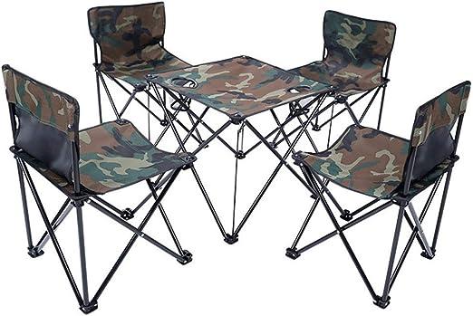 WANG Mesa y sillas Plegables al Aire Libre Mesa de Picnic Mesa y ...