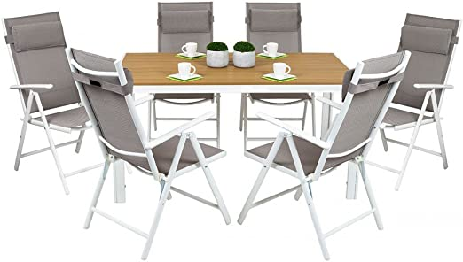 Conjunto Salón de jardín 6 plazas Top antiburbujas Cordoba Mesa ALU + 6 sillas Gris: Amazon.es: Jardín