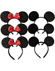 Mickey Mouse Ears Solid Black and Bow Minnie Headband for Boys and Girls Birthday Party or Celebrations (Pack of 6)