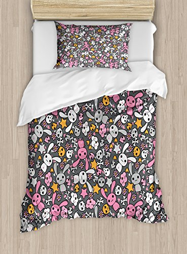 Doodle Duvet Cover (Ambesonne Doodle Duvet Cover Set, Kawaii Bunnies and Clouds with Heart Eyed Skulls Japanese Anime Design Print, Decorative 2 Piece Bedding Set with 1 Pillow Sham, Twin Size, Grey)