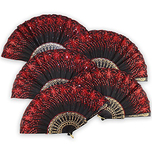 hand fans red - 3