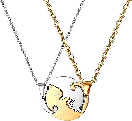 JewelryWe Collares para Parejas Amistad, Colgante de Gatos Negro ...