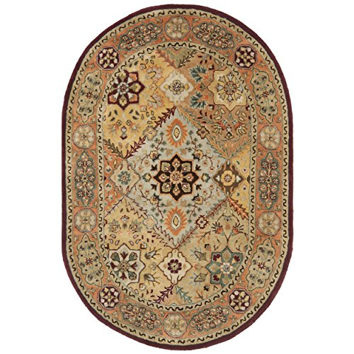 Safavieh Persian Legend Collection PL812A Handmade Traditional Red and Rust Wool Oval Area Rug (4'6