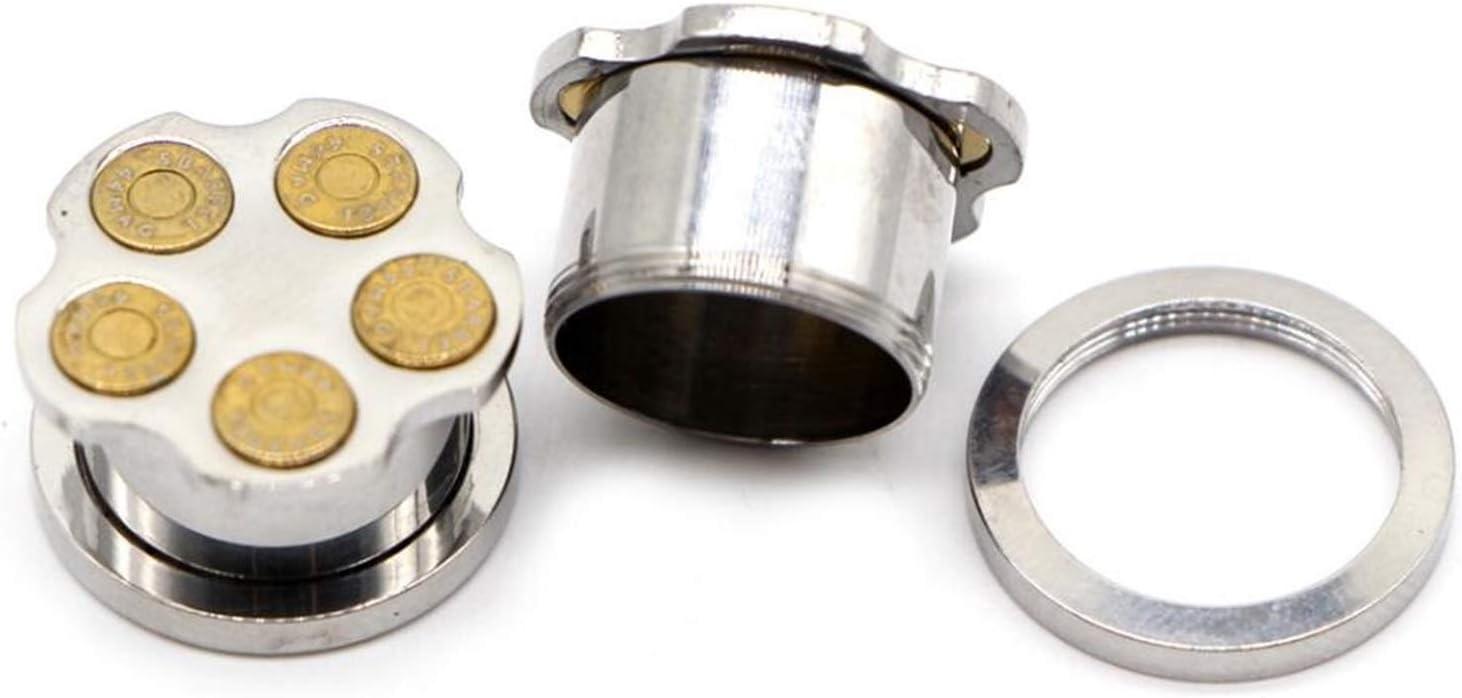 Homeilteds 2 Piezas De 6-16mm Oído Acero Inoxidable Plugs Negro Color Plata Expander Camilla Oreja Piercing Medidores Plugs (Main Stone Color : 14mm, Metal Color : EM0984A Silver)