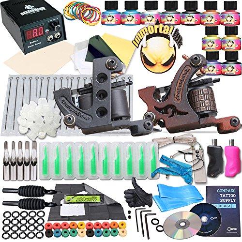 Hawk Kit (Complete Tattoo Kit 2 Machine Gun 10 Color Inks Power)