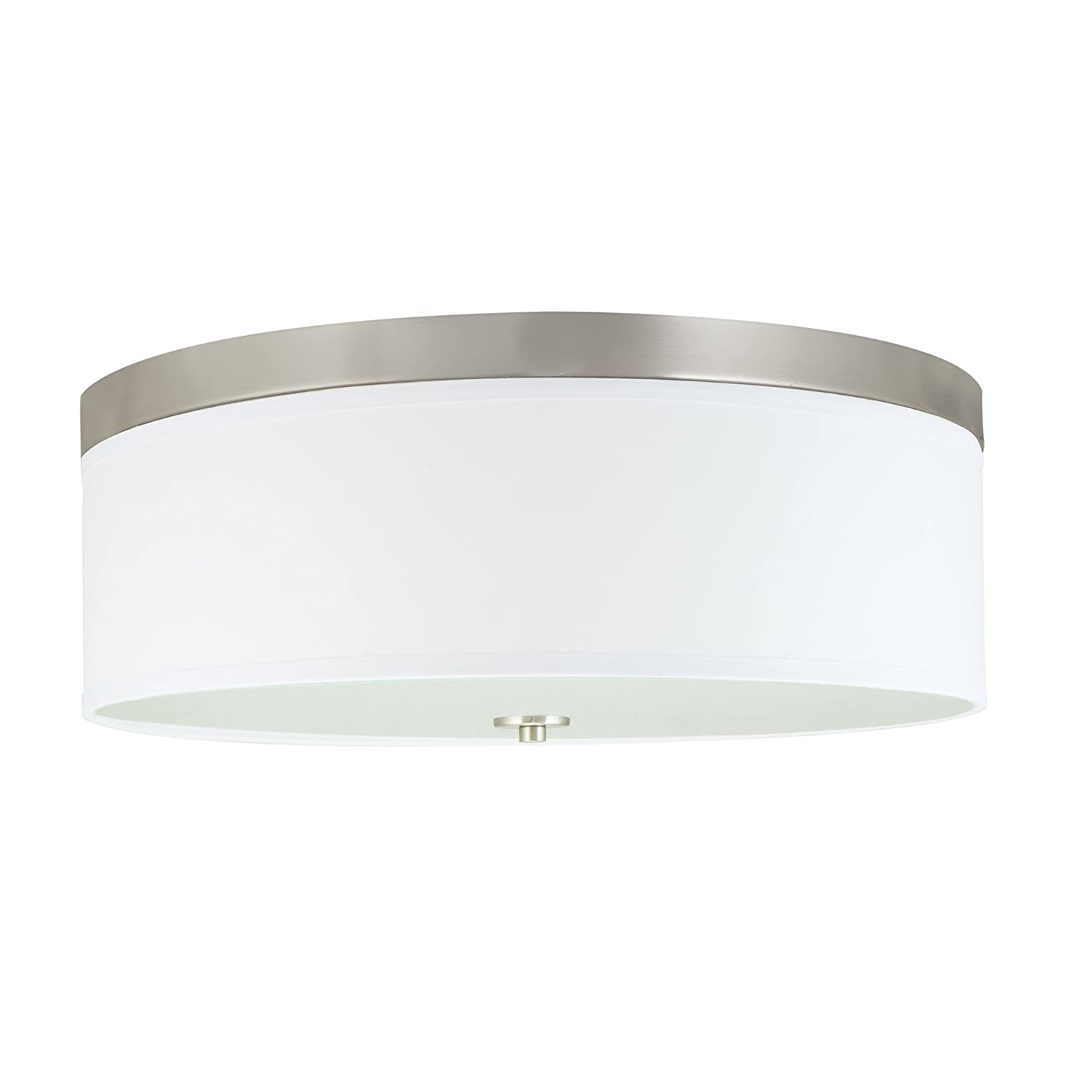 "Kira Home Walker 15"" Modern 3-Light Flush Mount Ceiling Light + White Shade, Brushed Nickel Finish"