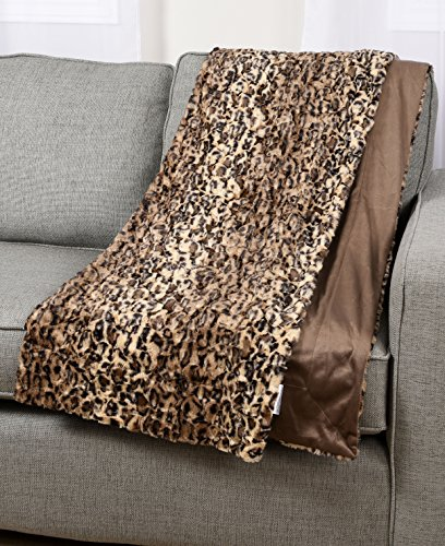 Animal Leopard Print Plush Faux Fur Micromink Brown Super Soft Fleece Throw Brand New Reversible Adults Comfortable Cover Blanket 50x60-inch (Seahawks Blanket King)