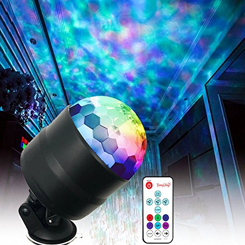 YomyRay Stage Light Party Lights Flowing Ocean Water Wave 4W RGBW LED Disco Crystal Ball Night Lights Sound Activated RC Flash Rotating Effect For Party Shows In-Car Festival Club(New Upgrade) (Table Top Disco Ball)